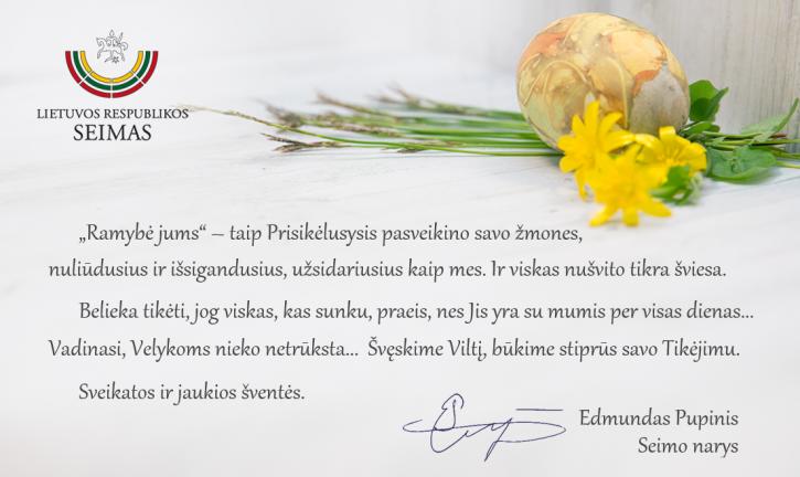 E. Pupinio sveikinimas